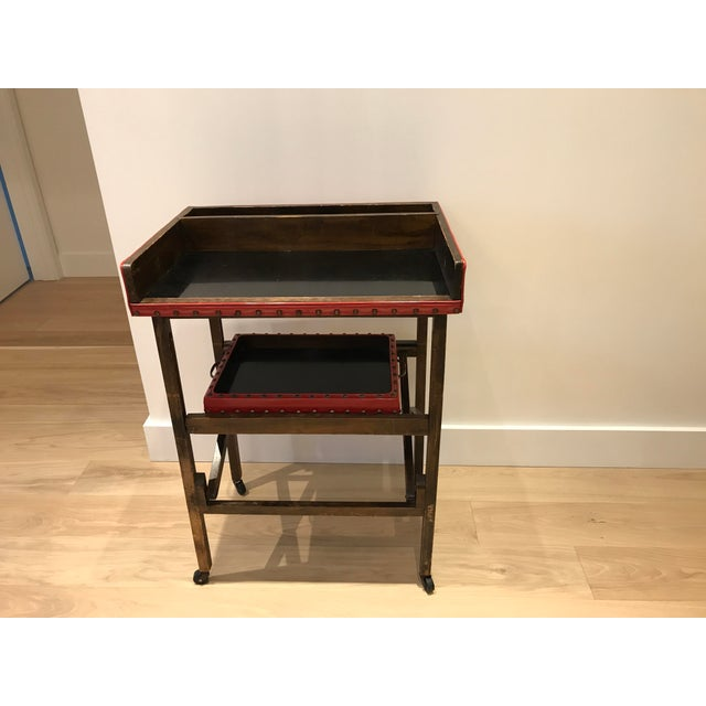 Vintage Leather & Wood Two-Tray Table - Image 6 of 6