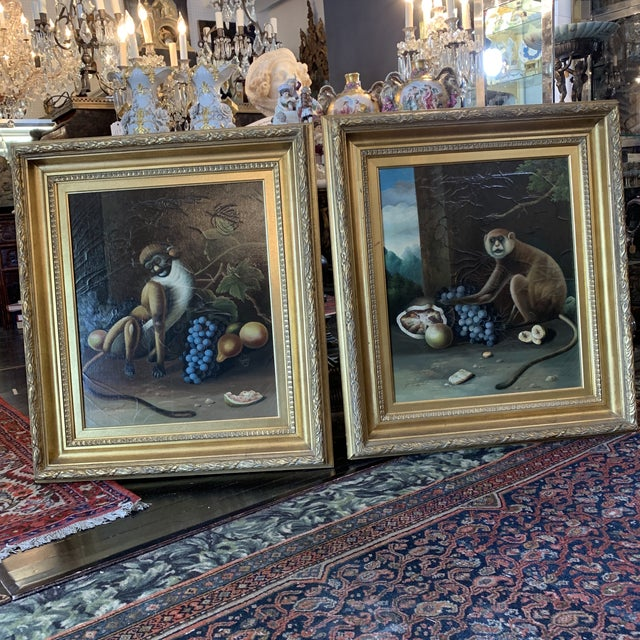 1960s Vintage Framed Monkey Paintings - A Pair For Sale - Image 12 of 12