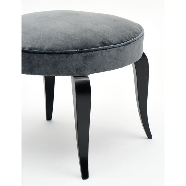 1950s Art Deco Period Gray Velvet Stools - a Pair For Sale - Image 5 of 10