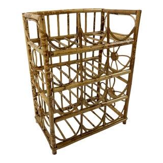 Vintage Tortoise Bamboo Wine Rack For Sale