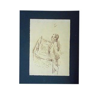Original Vintage Mid 20th Century Drawing-D. Fredenthal-Listed American Artist- u.n. Suez Crisis For Sale