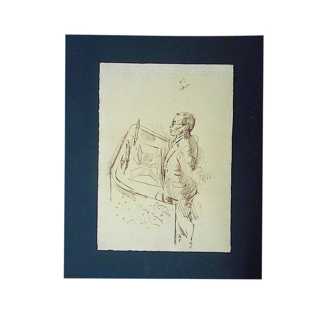 Original Vintage Mid 20th Century Drawing-D. Fredenthal-Listed American Artist- u.n. Suez Crisis For Sale