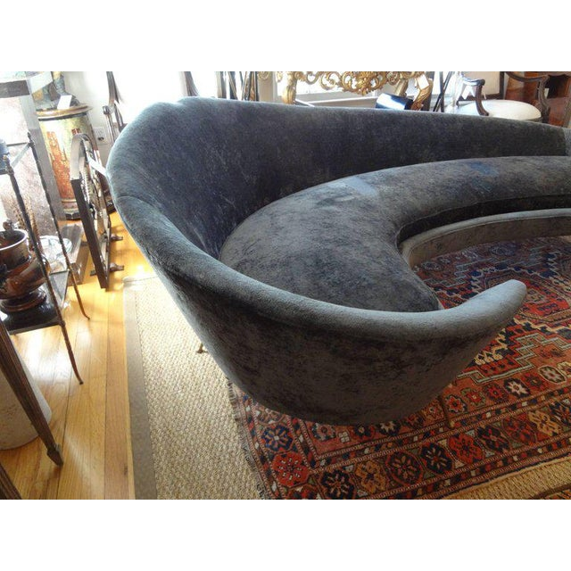 Italian Mid-Century Italian Curved Sofa With Brass Legs Attributed to Federico Munari For Sale - Image 3 of 9