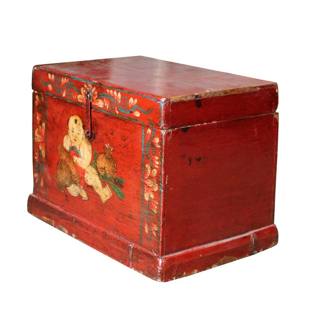 Chinese Vintage Red Kids Theme Trunk Box Chest For Sale - Image 4 of 9