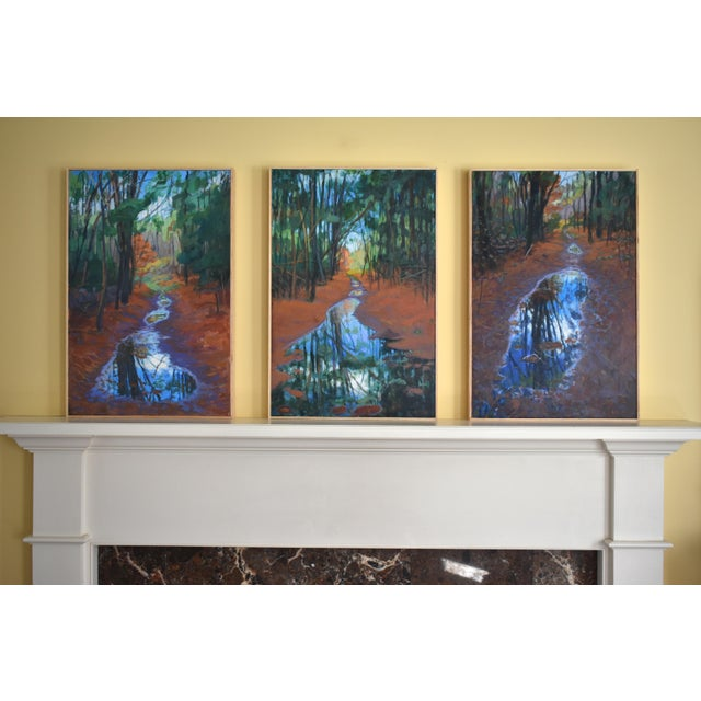 """Standing by Peaceful Waters"" Contemporary Triptych Painting by Stephen Remick - Set of 3 For Sale - Image 13 of 13"