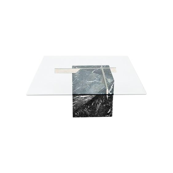 Artedi Marble Base And Glass Top Coffee Table Chairish - Marble base glass top coffee table