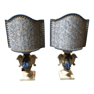 Fortuny Fabric Shade Lamps - A Pair For Sale