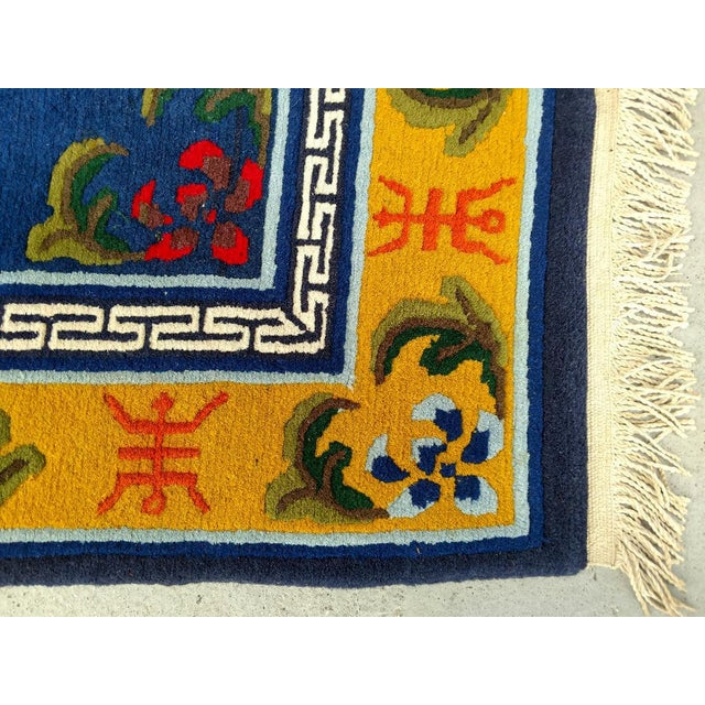 Hand-Knotted Wool, Asian Navy Blue Rug - 3′ × 6′4″, Vintage For Sale - Image 4 of 8