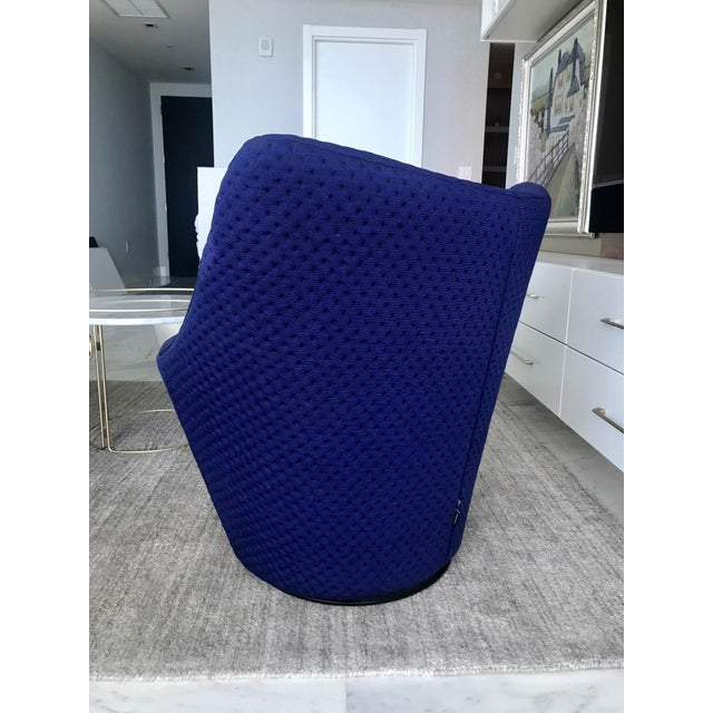 Blue Anda Swivel Armchair and Ottoman by Pierre Paulin for Ligne Roset, C. 2018 For Sale - Image 8 of 13