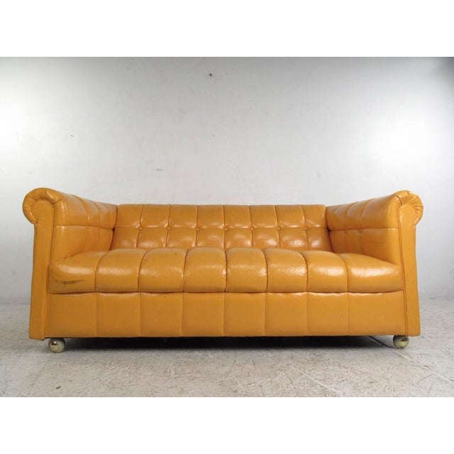 Mid-Century Modern Mid-Century Modern Tufted Chesterfield Sofa For Sale - Image 3 of 10
