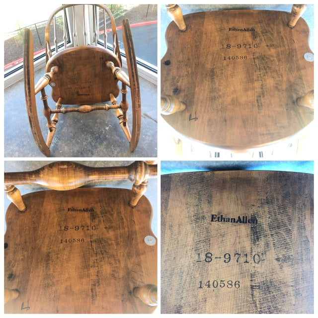 19th C. Ethan Allen Antique Solid Maple Windsor Rocking Chair For Sale - Image 12 of 13