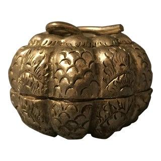 Antique Cambodian Silver Pumpkin Repousse Betel Box For Sale