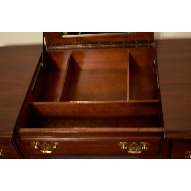 Vintage Ethan Allen Queen Anne Style Solid Cherry Flip Top Vanity For Sale - Image 11 of 13