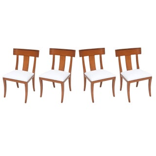 Set of Four Swedish Modern Fruitwood Klismos Chairs, 1950s For Sale