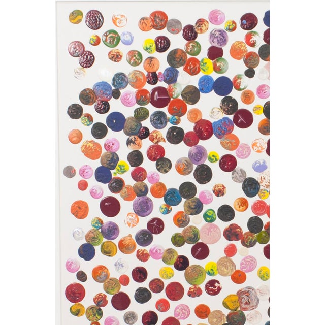 Two contemporary acrylic impasto painting on canvas with multicolored dots on a white background in a white metal frame;...
