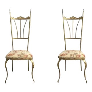 1980s Chiavari Brass Side Chairs - a Pair For Sale