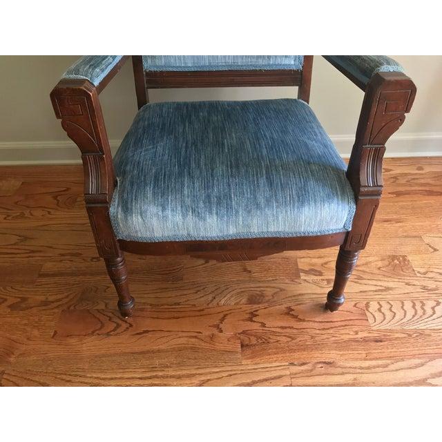 Blue Blue Velvet Eastlake Chair For Sale - Image 8 of 9