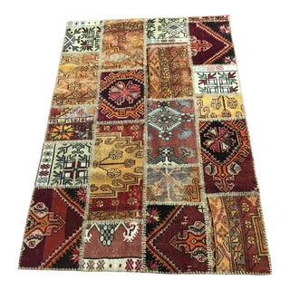 """Patchwork Anatolian Rug - 5'7"""" x 3'9"""" For Sale"""