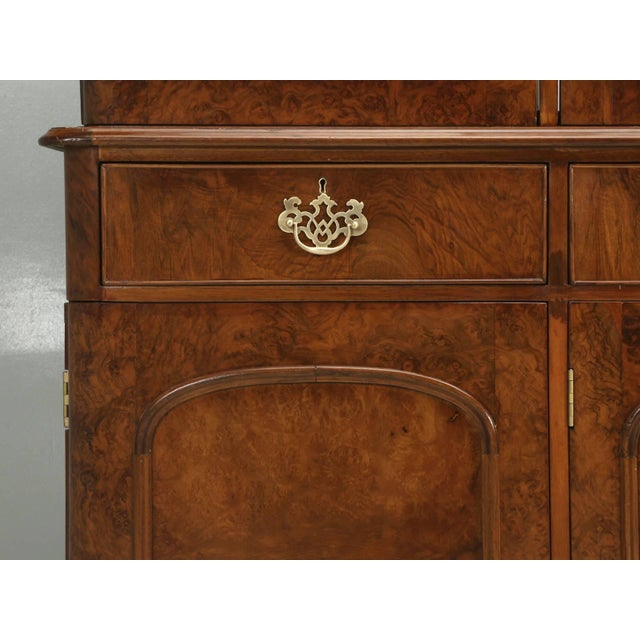 Wood Antique English Burl Walnut Bookcase, Circa Late 1800s and Correctly Restored For Sale - Image 7 of 10