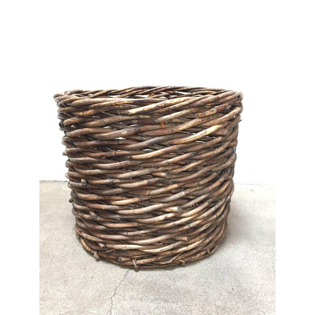Large French vineyard harvest wicker basket. Classic oversized French wicker basket. Handmade and Handwoven of a thick...