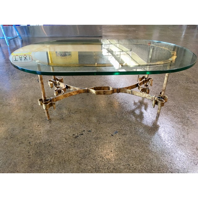 Gold 1950s Spanish Brutalist Gilded Wrought Iron & Glass Coffee Table For Sale - Image 8 of 13