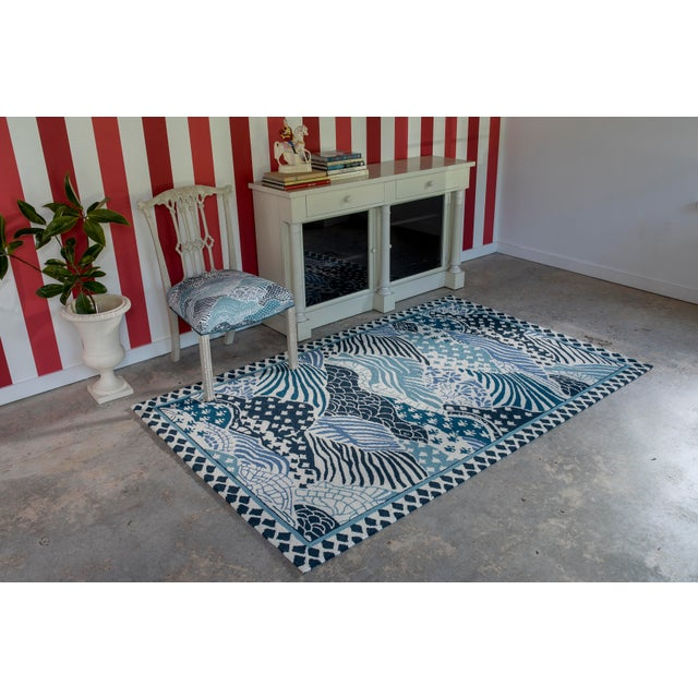 "Madcap Cottage Under a Loggia Windsor Park Blue Indoor/Outdoor Area Rug 2'3"" X 8' Runner For Sale - Image 4 of 5"