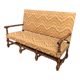 Antique French Flame Stitch Settee For Sale