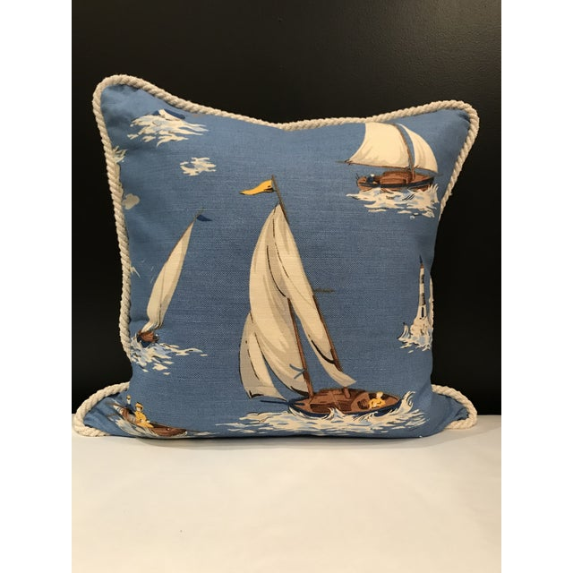 Nautical Scalamandre Breezy Point Blue Linen Print Pillow #1 Beach House Lake House For Sale - Image 6 of 6
