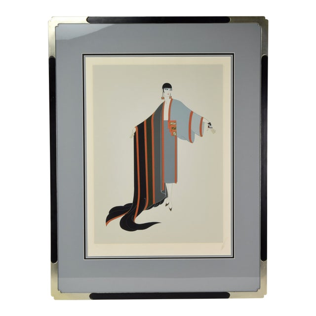 """Erte """"Michelle"""" French Art Deco Flapper Limited Edition Screenprint Signed For Sale"""
