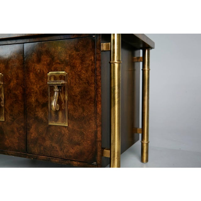 1960s Mastercraft Burled Wood & Brass Side or End Table by William Doezema For Sale - Image 9 of 11
