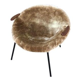 Hans Olsen Danish Mid Century Modern Sheepskin and Leather Balloon Chair For Sale