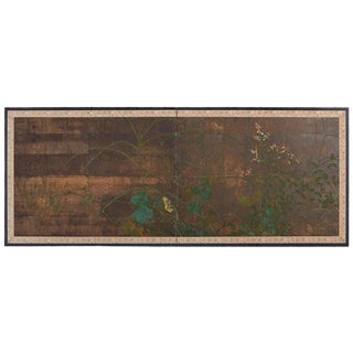 Japanese Two-Panel Rimpa School Style Foliage Screen For Sale