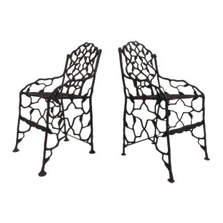 Vintage Fiske Cast Iron Chairs - a Pair For Sale