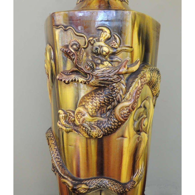 Asian 19th C Chinese Glazed Ceramic Lamp For Sale - Image 3 of 9