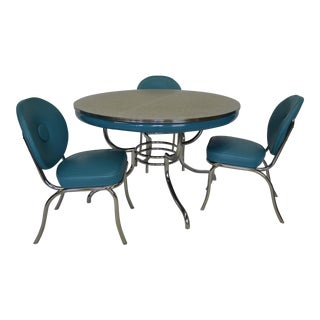 Turquoise Chrome Round Table & Chairs, 1950s - Set of 4