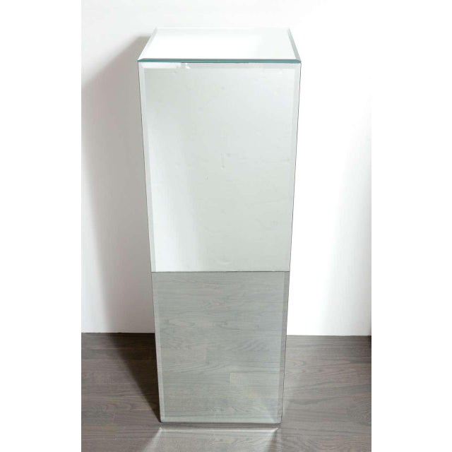 Early 20th Century Modernist Hand Beveled Mirrored Pedestal For Sale - Image 5 of 7