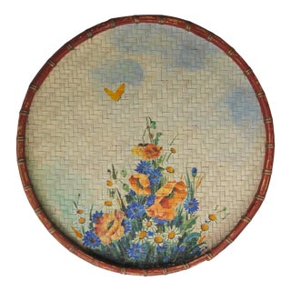 Circa 1940s Hand Painted Wall Hanging Basket For Sale