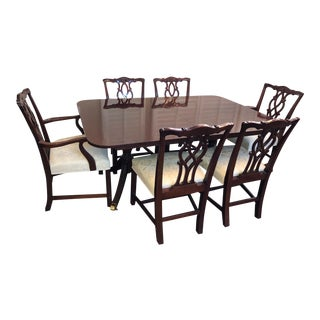 Kindel Double Pedestal Mahogany Dining Table & Chairs For Sale