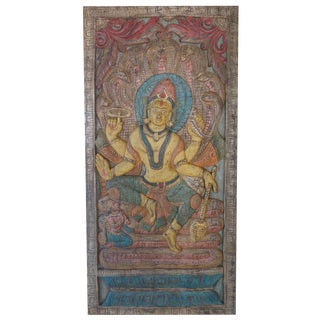 Vintage Indian Hand Carved Vishnu Door Panel Wall Sculpture Barndoor Relief For Sale