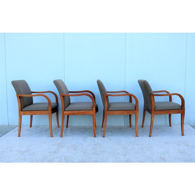 Late 19th Century 19th Century Scandinavian Modern Gunlocke Guest Dining Arm Chairs - Set of 4 For Sale - Image 5 of 13