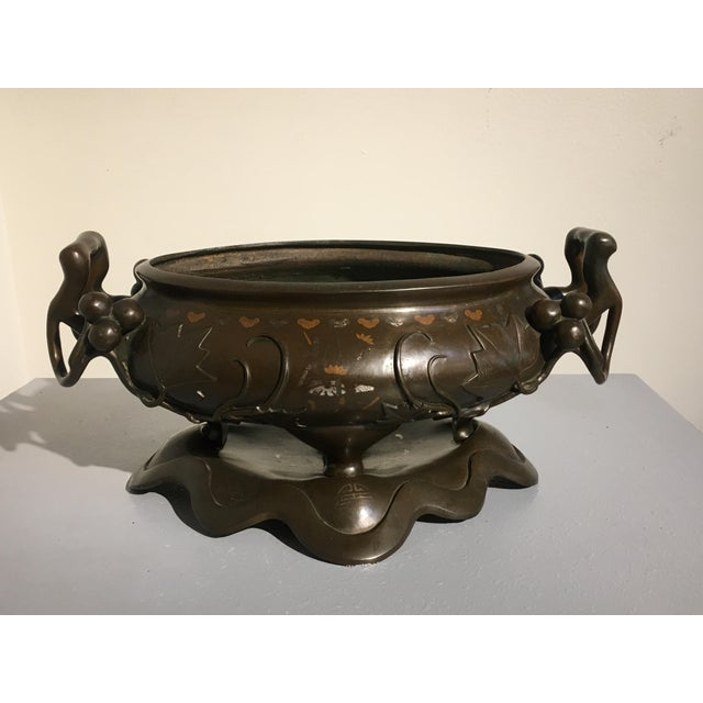 Late 19th Century Chinese Silver and Copper Inlaid Bronze Planter, Qing Dynasty, 19th century For Sale - Image 5 of 11