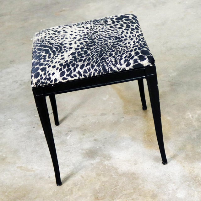 Aluminum Black Art Deco and Animal Print Bench Ottoman Footstool Cast Aluminum by Crucible For Sale - Image 7 of 11