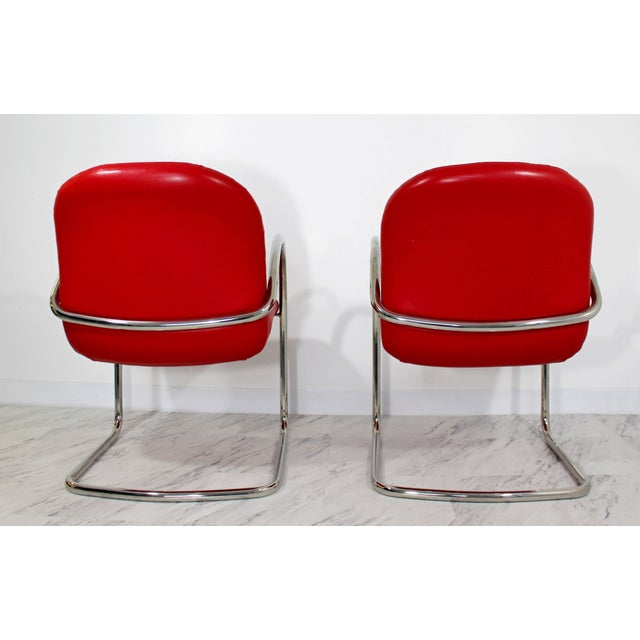Animal Skin 1980s Mid-Century Modern Brueton Red Leather Dining Armchairs - Set of 6 For Sale - Image 7 of 10