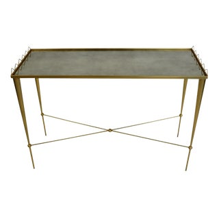 Art Deco Style Gilt Metal and Glass Console Table For Sale