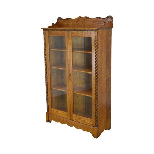 Antique Victorian Oak 2 Door Bookcase For Sale - Image 12 of 12