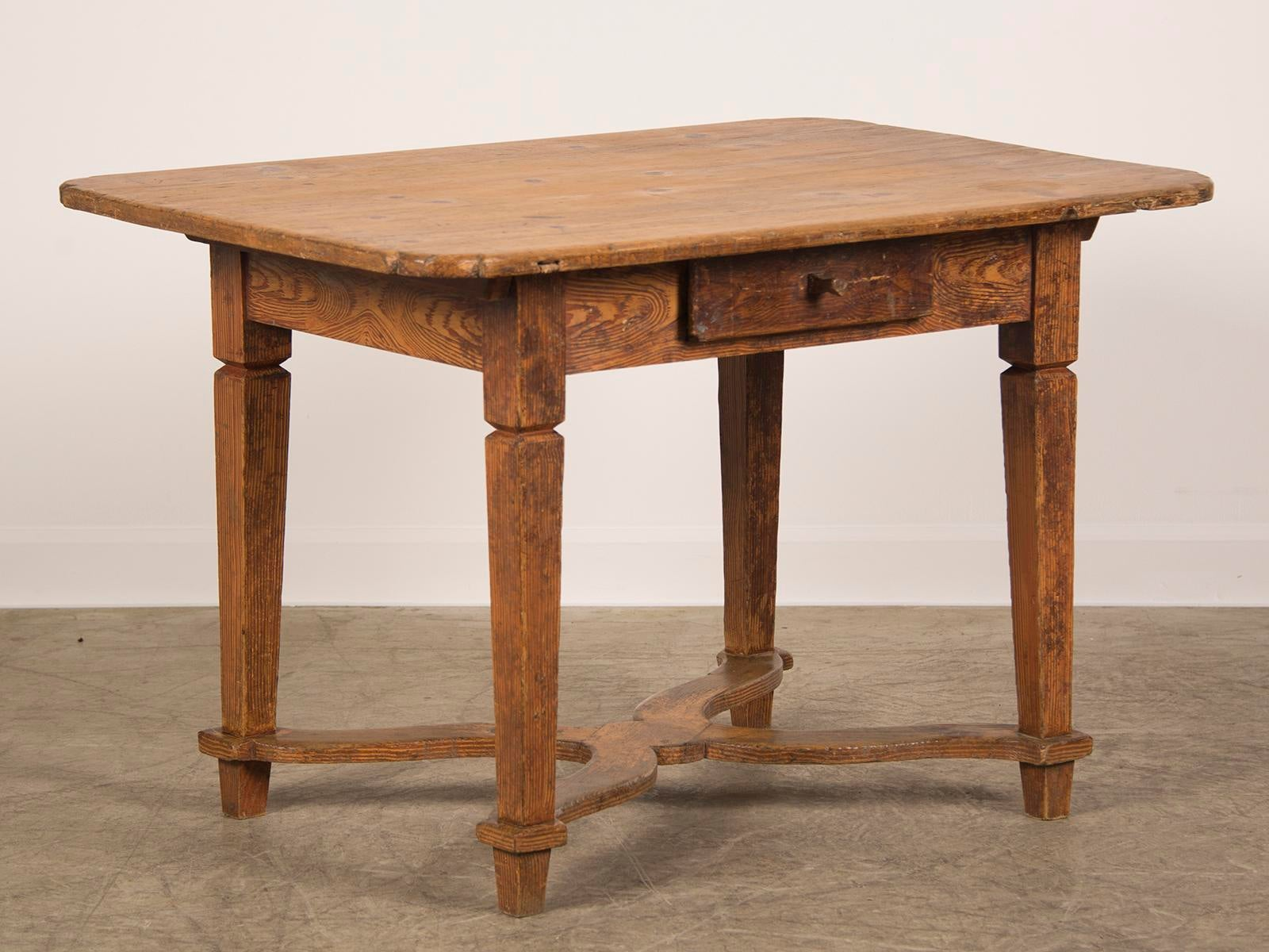 An Antique French Baroque Style Pine Table With The Original Painted Finish  Standing On Straight Tapered
