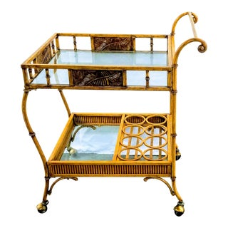 Mid 20th Century Gilt Metal Faux Bamboo Bar Cart For Sale