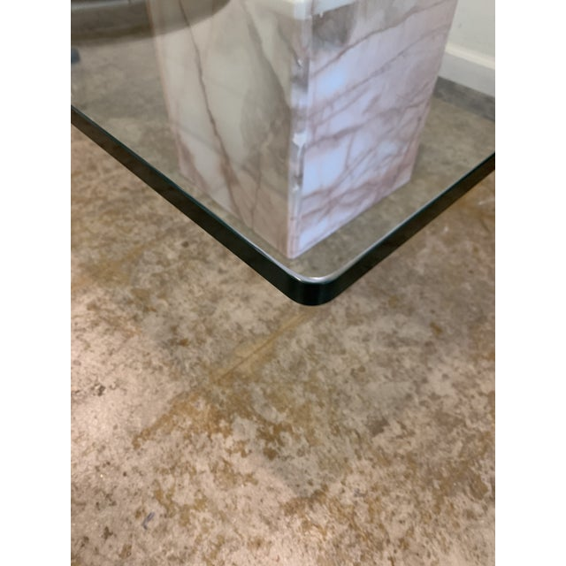 1970s Glass and Pink Marble Coffee Table For Sale In Los Angeles - Image 6 of 9