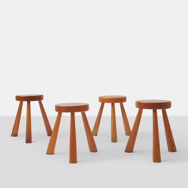A very rare group of medium height oak stools with beautiful patina made for Les Arcs Ski Resort in Savoie France. One has...