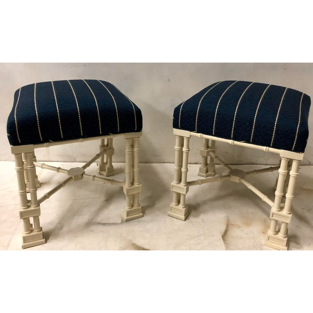 Pair Erwin Lambeth Chippendale Style Ottomans For Sale In Atlanta - Image 6 of 9